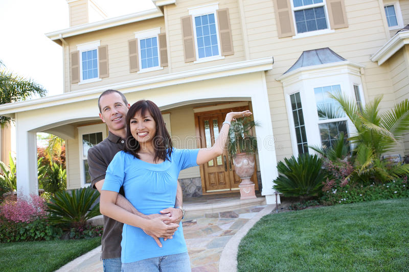 Attractive diverse couple at home royalty free stock image