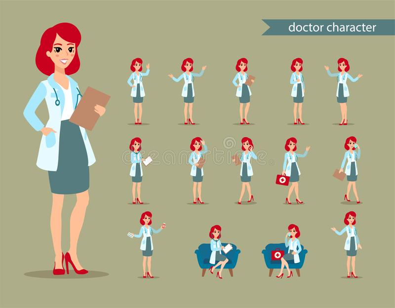 Attractive doctor. Funny character design. Cartoon illustration. Healthcare concept creator. Female medic personage. Funny character design. Cartoon vector illustration