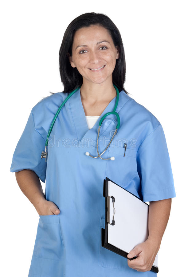 Attractive Doctor Woman With Clipboard Royalty Free Stock Image