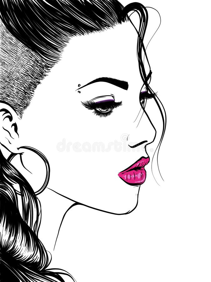 Attractive women, hand drown detailed illustration isolated on the white background royalty free illustration