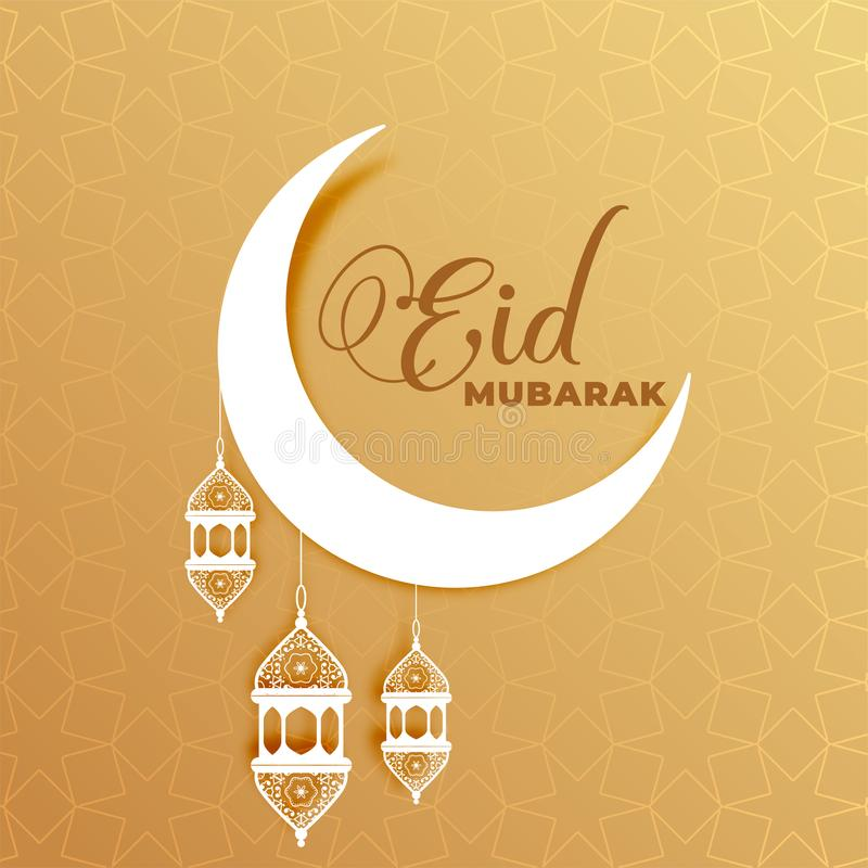 Attractive eid mubarak moon and lamps greeting design. Vector royalty free illustration