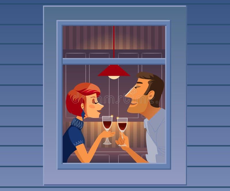 Attractive elegant couple drinking wine. Beautiful man and woman talking near window. vector illustration