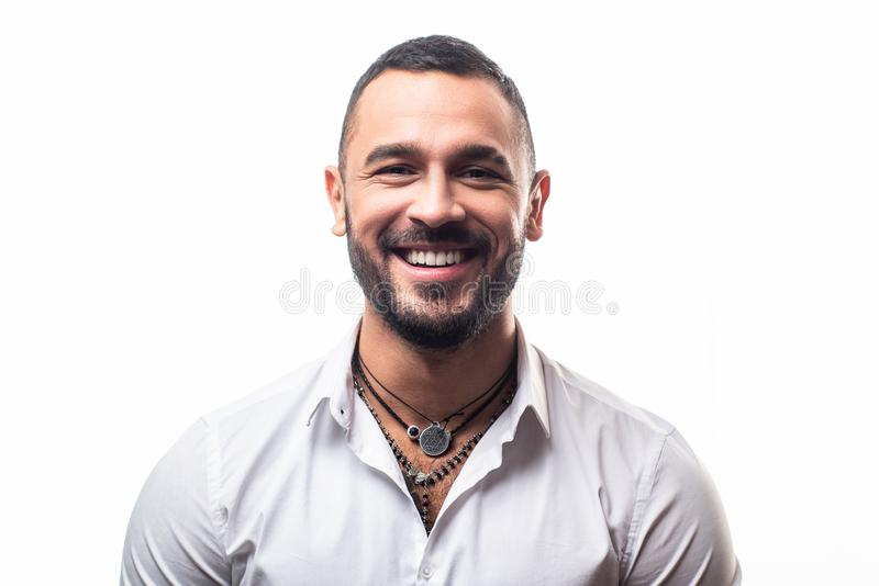 Attractive elegant male. Masculinity concept. Portrait of sexy handsome fashion man model with smile. Brutal bearded boy. With tattoo. Fashioned clothing royalty free stock photos