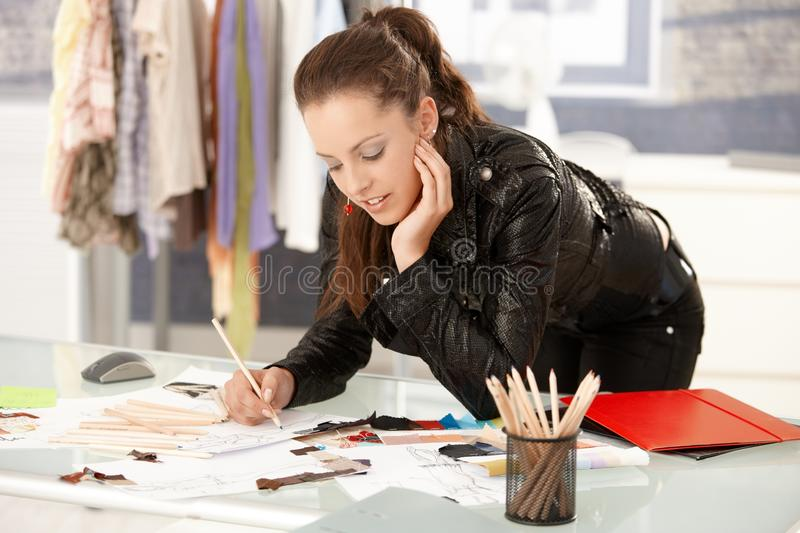 Attractive Fashion Designer Working In Studio Stock Image Image Of Female Concentration 17097709