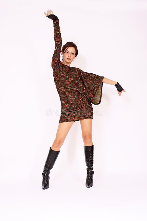 Attractive fashion model wearing dress