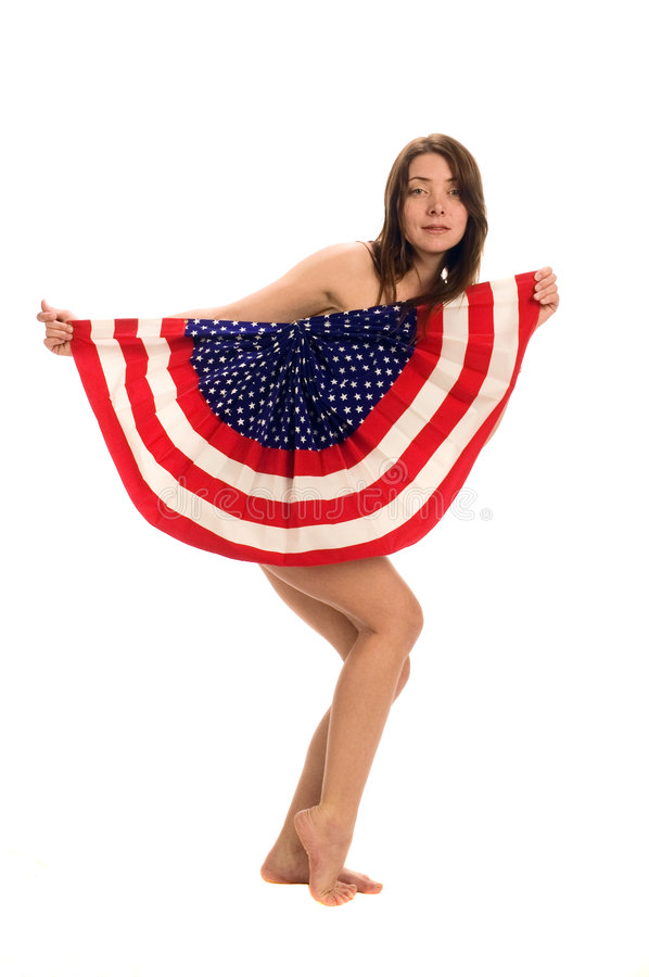 Attractive female American Patriot with flag stock photos