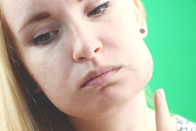 Teeth Problem. Gumboil, flux and swelling of the cheek. Closeup Of Beautiful Sad Girl Suffering From Strong Tooth Pain. Attractive. Attractive Female Feeling royalty free stock images