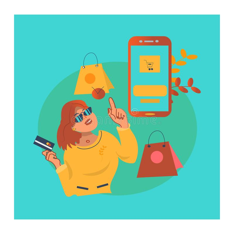 Attractive female is going for shopping online. a hipster girl with bags royalty free illustration