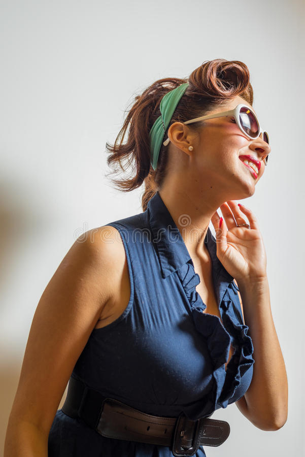 Attractive female having fun with poses royalty free stock image