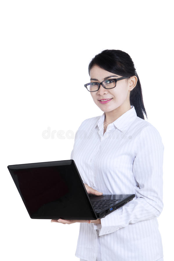Attractive female medical student - isolated