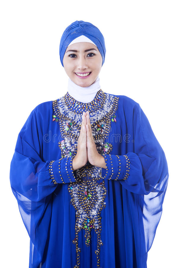 Download Attractive Female Muslim In Blue Dress On White Stock Image - Image: 31294015