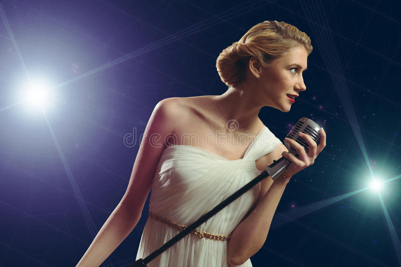 Download Attractive Female Singer With Microphone Stock Photos - Image: 36390773
