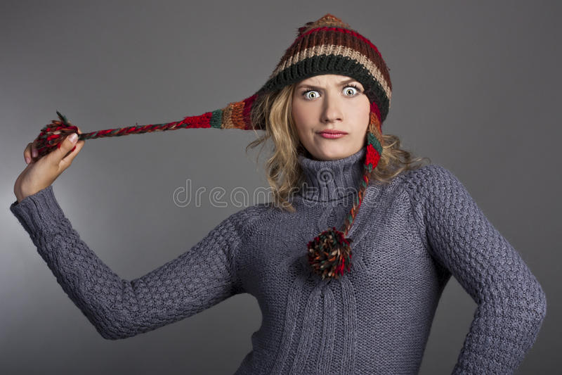 Download Attractive Female Student In A Sweater And Hat Stock Image - Image of elegance, care: 26617743