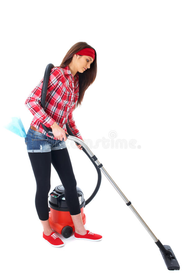 Download Attractive Female Uses Vacuum Cleaner Isolated Stock Image