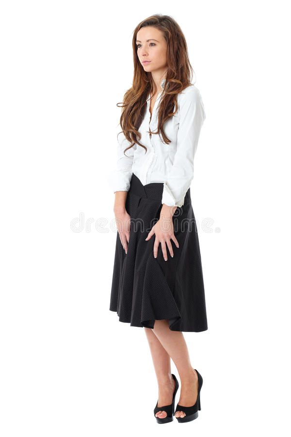 Attractive Female In White Shirt And Black Skirt Stock Images