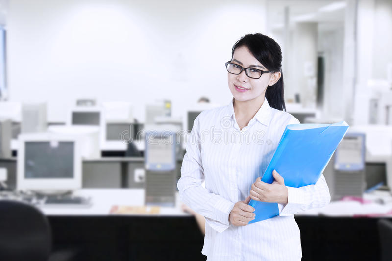 Download Attractive Female Worker At Office Stock Image - Image of career, blue: 33321677