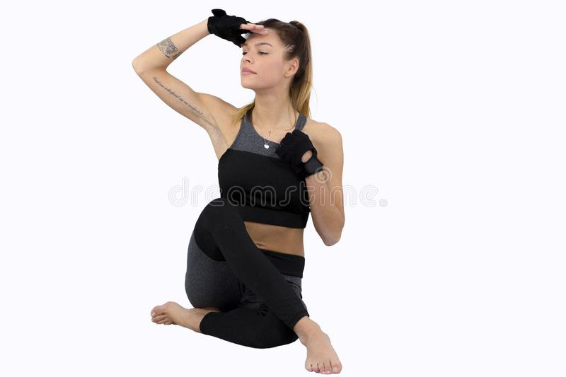 Attractive fitness woman, trained female body,Attractive fitness woman with top, beautiful caucasian lifestyle portrait royalty free stock images