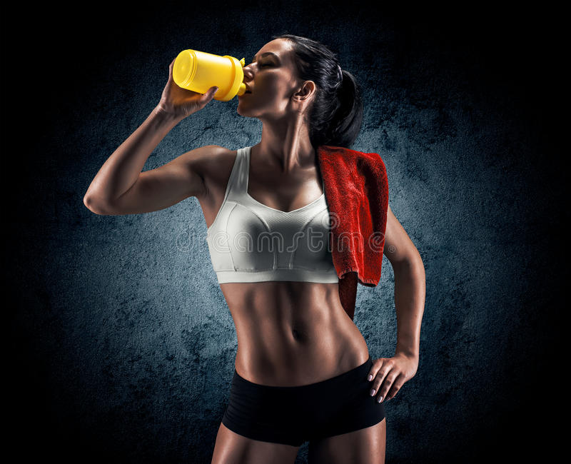Attractive fitness woman, trained female body, lifestyle portrai royalty free stock photos