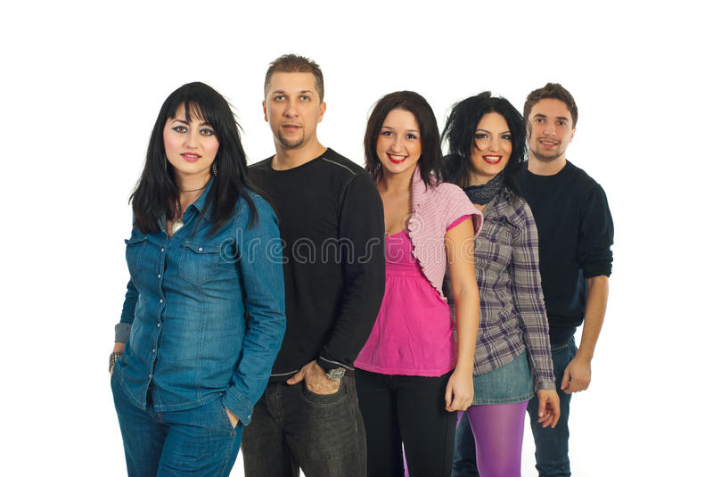 Attractive friends group royalty free stock photo