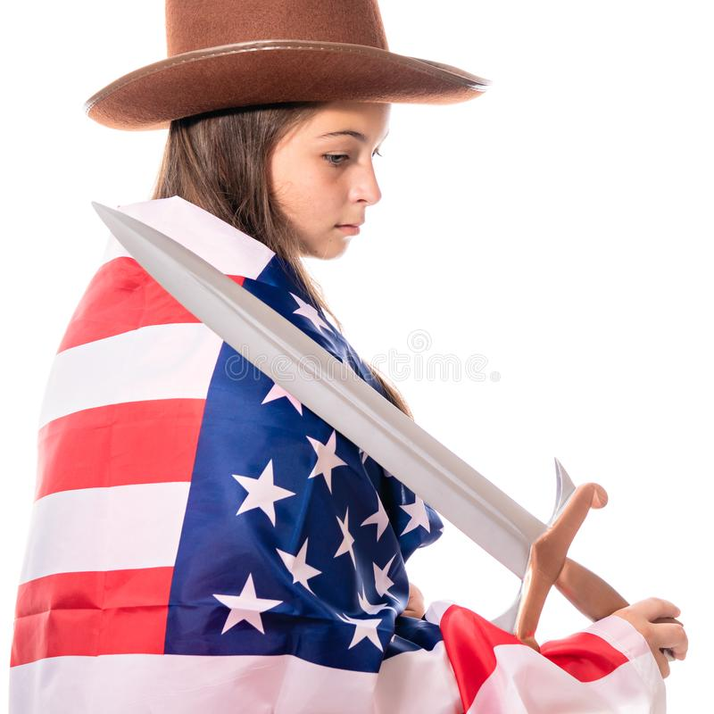 Attractive girl with american flag and sword stock photo
