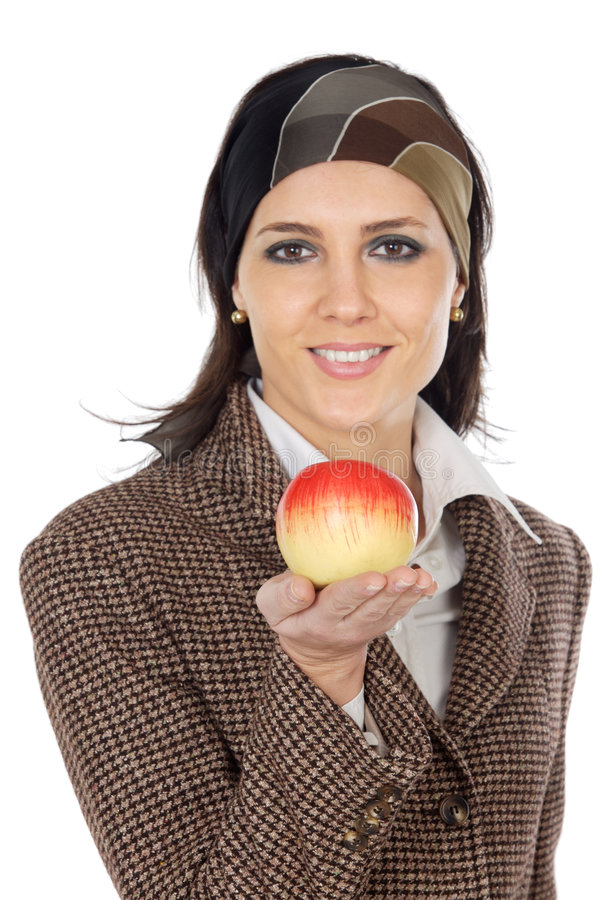 Attractive girl with apple in the hand (focus in the apple). A over white background royalty free stock images