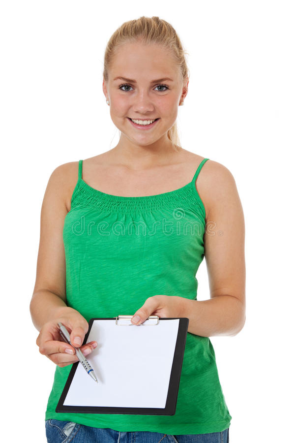 Attractive Girl Asks To Sign In Royalty Free Stock Photos