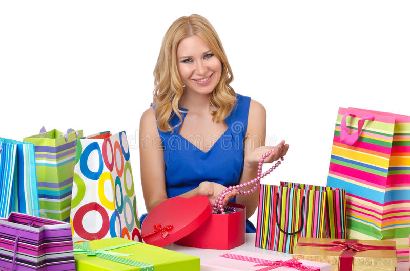Attractive Girl With  Bags Stock Photo