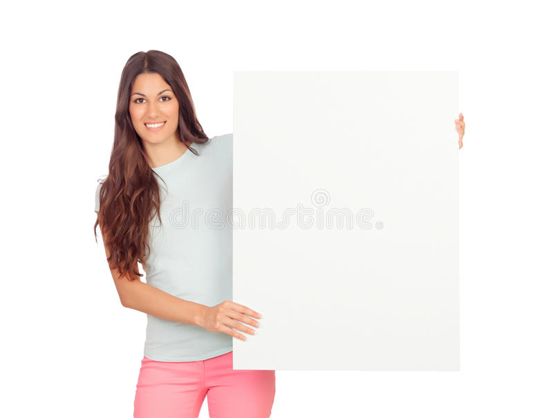 Download Attractive Girl With Blank Placard Stock Photo - Image: 33496280
