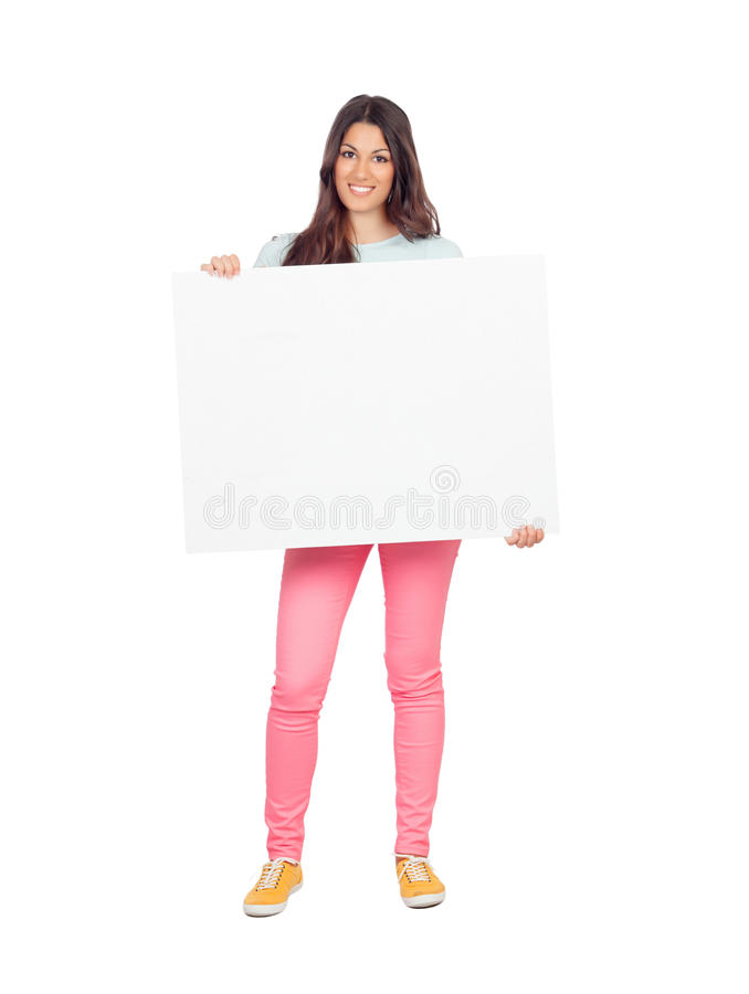 Download Attractive Girl With Blank Placard Royalty Free Stock Photo - Image: 33562855