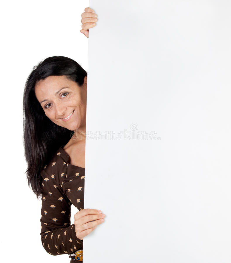 Attractive girl with blank poster. Isolated on white background stock photography