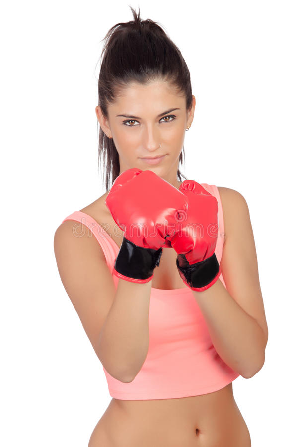 Attractive girl with boxing gloves royalty free stock photos