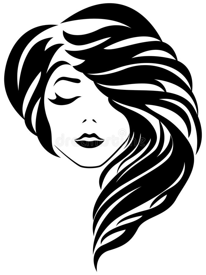 Attractive girl with closed eye and gorgeous hair. Abstract attractive young lady with closed eye and stylish gorgeous hair, vector illustration isolated on the stock illustration
