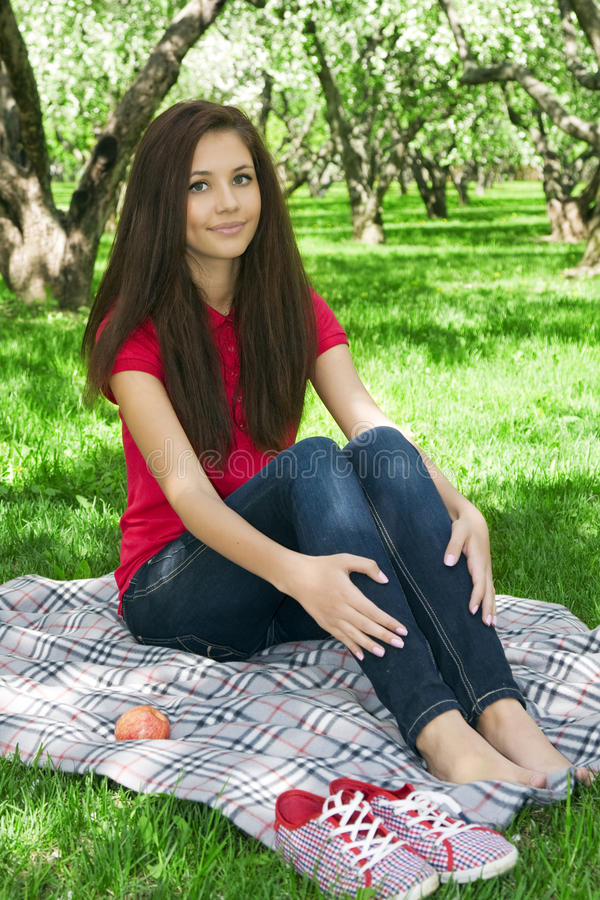 Download Attractive Girl In The Garden. Stock Image - Image of student, lifestyles: 19649941