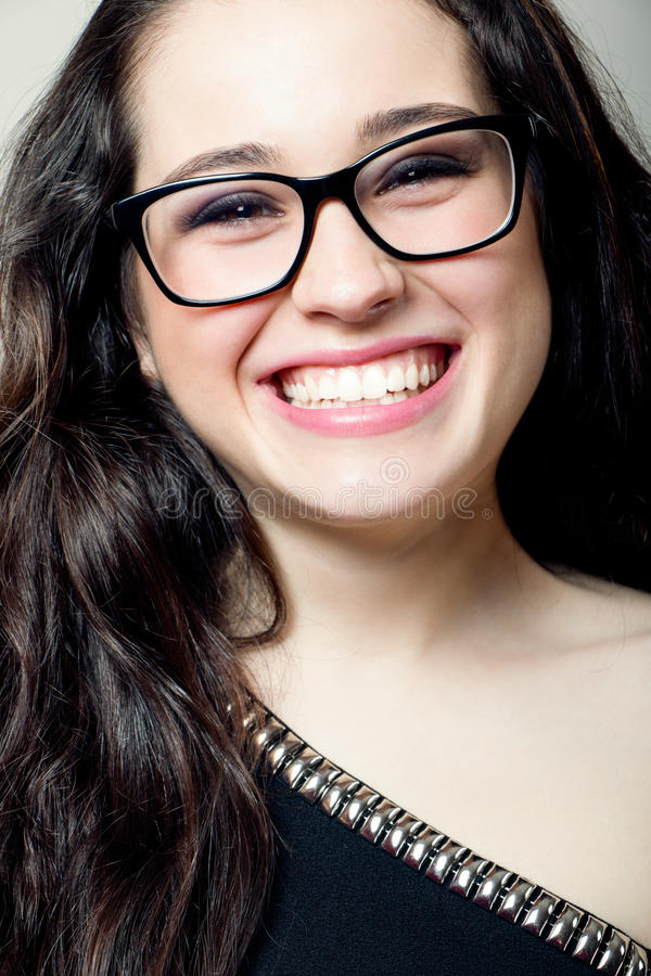 Download Attractive Girl With Glasses Laughing Stock Image - Image: 40468453