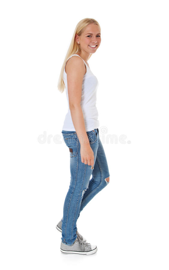 Attractive Girl Going By Feet Stock Photography