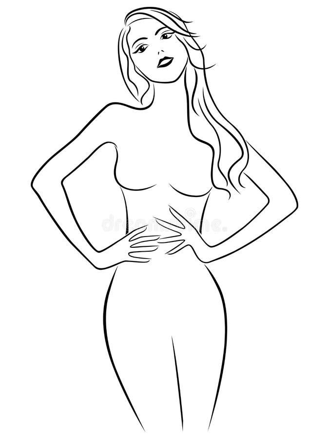 Attractive girl holding hands on waistline vector illustration