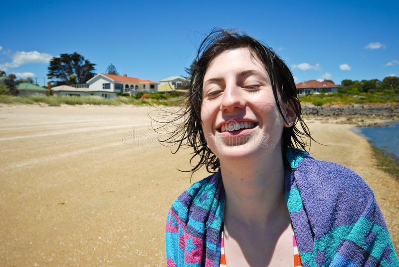 Download Attractive Girl Laughing On Beach Stock Photo - Image: 7568348