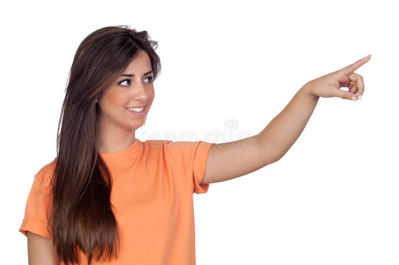 Attractive Girl With Long Hair Indicating Stock Photo