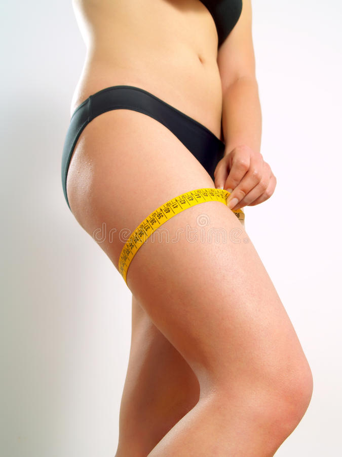 Download Attractive Girl Measuring Her Thigh Royalty Free Stock Image - Image: 10074136