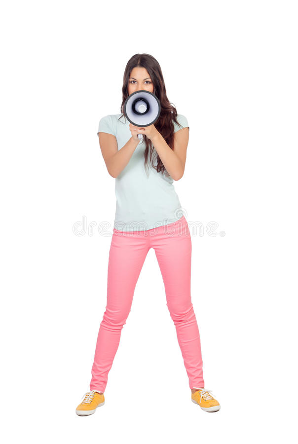 Download Attractive Girl With A Megaphone Stock Image - Image: 33733203
