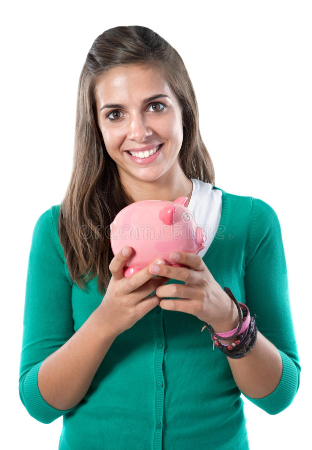 Attractive girl with money box. A over white background stock photo