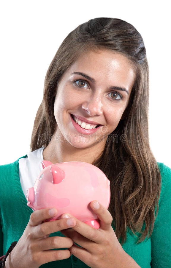 Attractive girl with money box. A over white background royalty free stock image