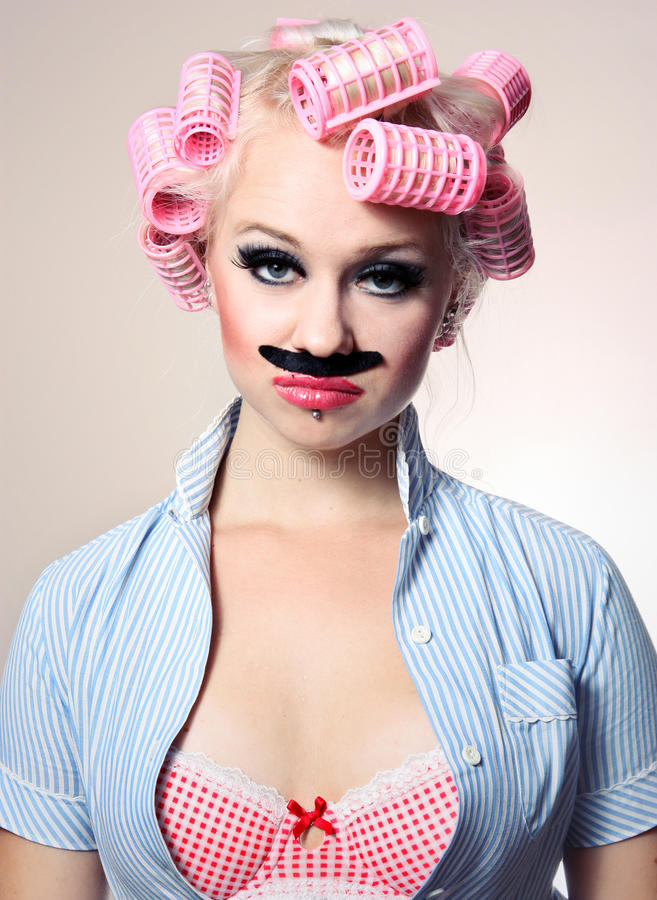 Attractive girl with mustache royalty free stock photos