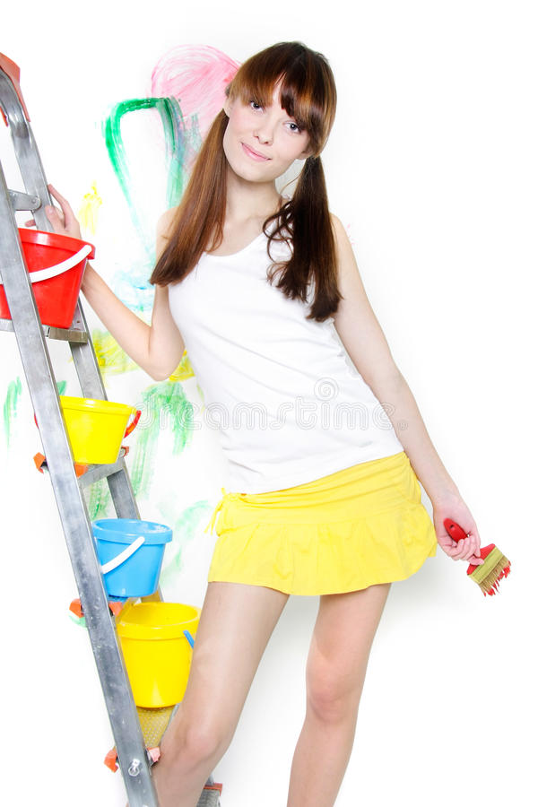 Download Attractive Girl With Paintbrush Stock Image - Image of caucasian, beautiful: 17104803
