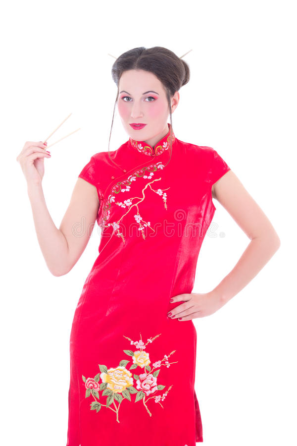 Attractive Girl In Red Japanese Dress With Chopsticks Isolated O Stock Photo