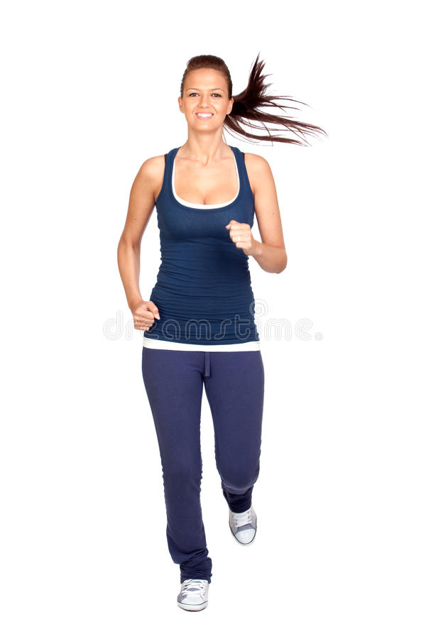 Attractive girl running royalty free stock photography