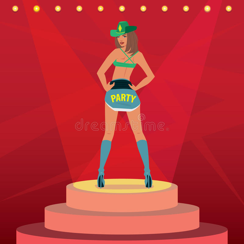 Attractive girl in outfit dancing on stage royalty free illustration
