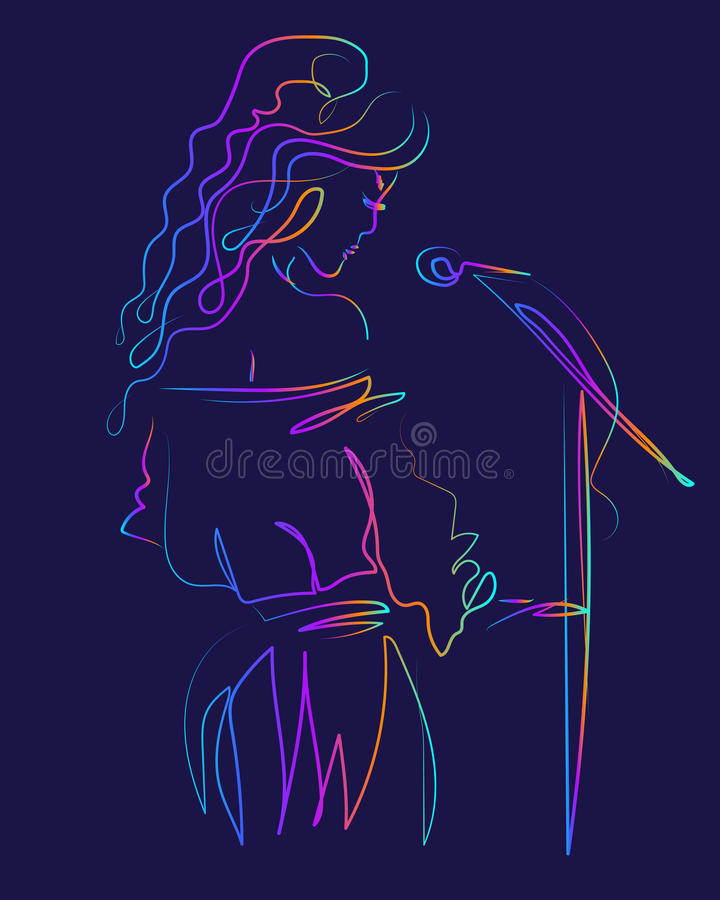 An attractive girl sings into a microphone. Singer woman on a dark background. Singing on stage. vector illustration