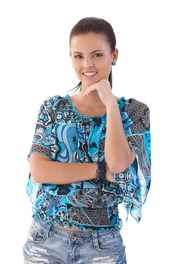 Attractive girl smiling royalty free stock photography