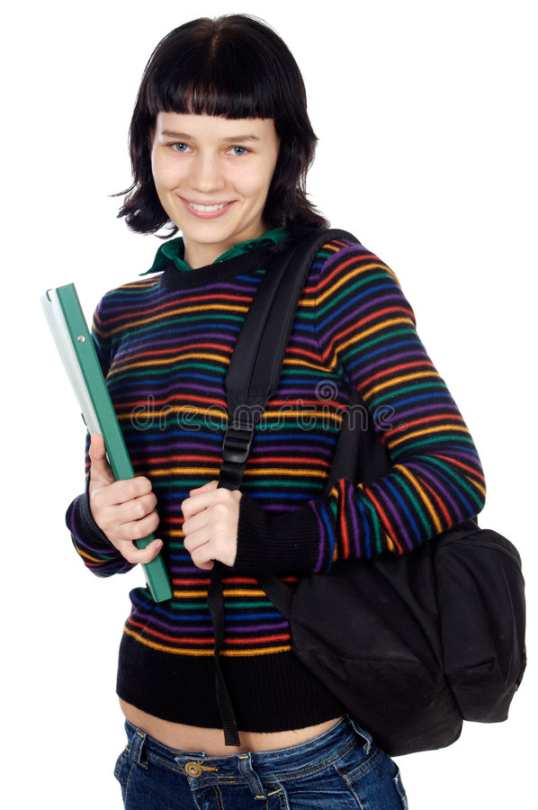 Attractive girl student stock images